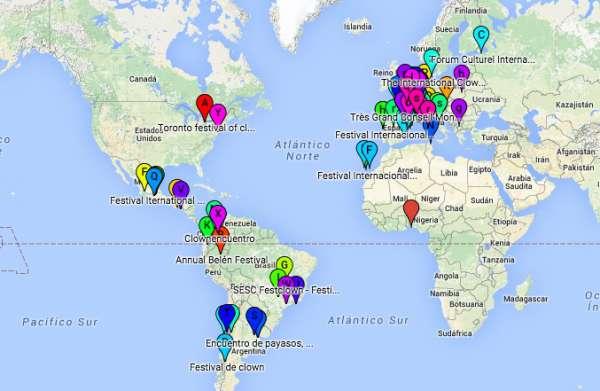 Mapa Mundial de Festivales de Clowns y Payasos
