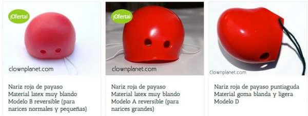 Narices de payaso a la venta en Clownplanet.com. Compra tu nariz payaso aquí